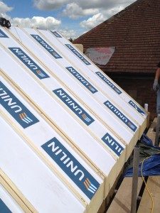 Super sips roofing panels complete with plasterboard to underside